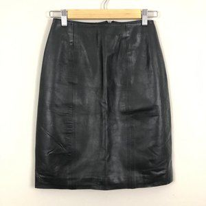 Vintage Flight Suits Ltd BLK Leather Pencil Skirt
